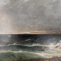 Antique oil painting seascape coastal scene of St Owens Ouens Bay Jersey (7 of 10)