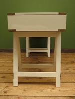 Vintage Scandi Boho White Campaign Style Desk with Trestle Legs (14 of 17)