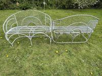 Pair of Art Deco Style Peacock Design Garden Curved Benches (23 of 35)