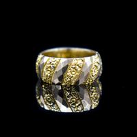 Antique Chunky Fancy Patterned 9ct 9K Gold Stacking Band Ring (6 of 8)