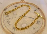 Vintage Pocket Watch Chain 1970s 12ct Gold Plated Curb Link Albert With T Bar (4 of 9)