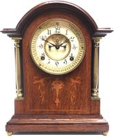 Superb Ansonia Oak Inlaid Mantel Clock Arched Top 8 Day Striking Mantle Clock (10 of 11)
