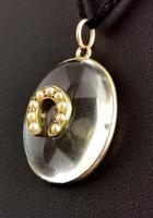 Antique Victorian Rock Crystal Pendant Gold Horseshoe, Split Pearl (10 of 14)
