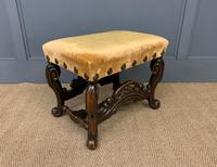 Carolean Style Upholstered Walnut Stool (4 of 6)