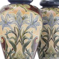 Pair of Tall Doulton Lambeth Art Nouveau Baluster Vases by Eliza Simmance c.1895 (2 of 12)