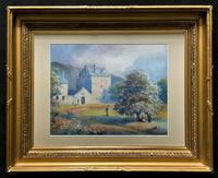 Fine 19th Century Regency Gilt Show-Framed Castle Landscape Watercolour Painting