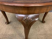 Round Burr Walnut Queen Anne Style Coffee Table (6 of 6)