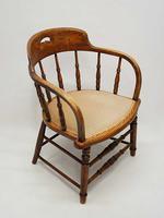 Edwardian Oak Upholstered Tub Chair (10 of 18)