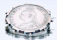 Victorian Jubilee Coin Silver Brooch Set with an 1887 Half Crown