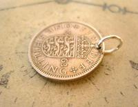 Vintage Pocket Watch Chain Fob 1963 Lucky Silver One Shilling Old 5d Coin Fob (5 of 7)