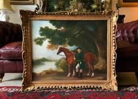 Lovely Large Primitive School Rococo Framed Oil Portrait Painting Horse & Rider (2 of 13)