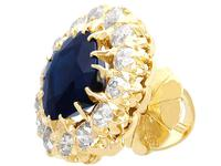 7.05ct Sapphire & 2.31ct Diamond, 18ct Yellow Gold Cluster Earrings c.1930 (4 of 9)