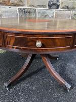 Quality Mahogany & Leather Drum Coffee Table (5 of 8)