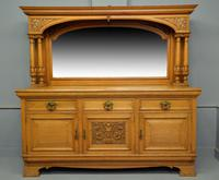 Edwardian Light Oak Carved Mirror-Back Sideboard