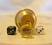 Vintage Pocket Watch Chain Fob 1960s Brass & Leather Gambling Fob With Dice (8 of 10)