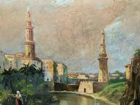 Large Early 1900s North African Cityscape with Mosque Oil Painting on Canvas (5 of 15)