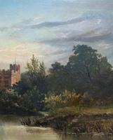 Lovely Original Mid 19th Century Antique British Castle River Landscape Oil Painting (6 of 11)