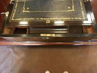 Burr Walnut Brass Inlaid Writing Box (5 of 17)