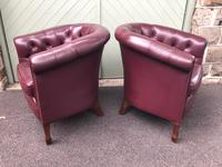 Pair of Antique Leather Gentleman's Club Armchairs (6 of 8)