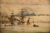 """Oil Painting by Adolphe Ragon """"on the Thames near Woolwich"""" (2 of 5)"""