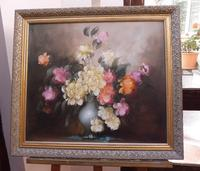 Large Oil on Canvas Bowl of Roses Signed (free Shipping to Mainland England (6 of 12)