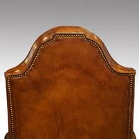 Antique Carved Walnut Leather Wing-back Chair (3 of 12)