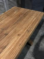 Large French Bleached Oak Trestle Farmhouse Dining Table (8 of 16)