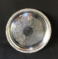 Large Vintage Quality Silver Plated Circular Butler Tray