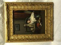 """19th Century English School Oil Painting """"The Loyal Sentinel"""" Dog Guarding Child (3 of 17)"""