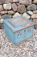 Swedish 'folk art' original blue paint box from hälsingland region, 1847. (11 of 26)