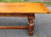1960s Carved Oak Refectory Table with Set 8 Dining Chairs Green Upholstery (5 of 10)
