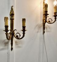 Set of French Neo Classical Large Brass Twin Wall Lights (5 of 5)