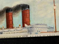 Huge Stunning Antique Seascape Oil Painting of Cunard's RMS Lusitania Ship c.1918 (16 of 16)