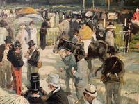 Circle of Julien Dumont - Oil on Board - 'Longchamp Races, Paris' (3 of 3)