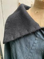 Antique French handmade indigo blue striped linen cape or cloak with black wool collar one size (5 of 10)