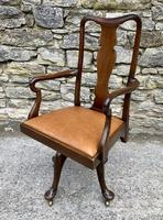 Antique Mahogany Swivel Office Desk Chair (2 of 12)