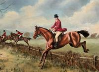 'The Fox Hunt' Original Vintage Country Sporting Pursuit Oil on Canvas Painting (5 of 17)