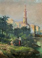 Large Early 1900s North African Cityscape with Mosque Oil Painting on Canvas (12 of 15)