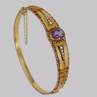 Antique Amethyst & Pearl Bangle. Etruscan Revival 9ct Gold Bracelet Chester 1913 (9 of 11)