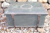 Scandinavian / Swedish 'Folk Art' original paint green/blue large table/alms/bible box raised on feet 1852 (14 of 36)