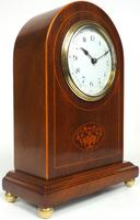 Impressive Solid Mahogany Arched Top Cased Timepiece Clock with Satinwood Inlaid Decoration (6 of 10)