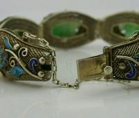 Superb Chinese Solid Silver Gilt Enamel & Jade Bracelet c.1920 Antique (8 of 12)
