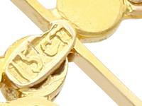 1.15ct Aquamarine & Seed Pearl, 15ct Yellow Gold Pendant - Antique c.1910 (8 of 12)
