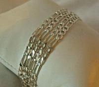 """Vintage Silver Necklace 1970s Figaro Link 925 Solid Silver 19"""" Length (5 of 11)"""