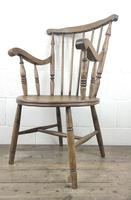 Early 20th Century Antique Beech Penny Seat Armchair (8 of 10)