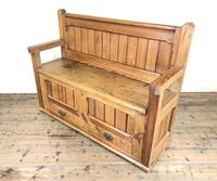 Pitch Pine and Oak Settle Bench with Drawers (M-1475) (11 of 11)