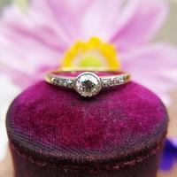Antique 18ct Gold Diamond Solitaire Ring, Old Cut Engagement Ring
