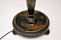 Antique Lacquered Chinoiserie Lamp Stand & Shade (5 of 12)