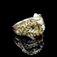 Antique Diamond Lions Head and Laurel Leaf 18ct 18K Yellow Gold Ring (2 of 9)