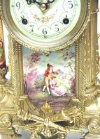 Vintage Sevres Mantel Clock Garniture 8 Day Striking Ormolu Mantel Clock (6 of 14)